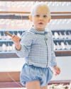 Babidu AW19 Baby Blue Check Shirt & Shorts Set