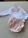 Babidu Baby Girls / Girls Frill Collar Pink and White Shorts Set