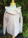 Babidu AW19 Frill Collar Long Sleeve Top in Dusky Pink