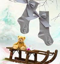 Pretty Originals Socks with Bows – Grey