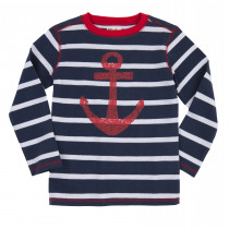 Hatley Navy & White Striped Tee with Large Red Anchor