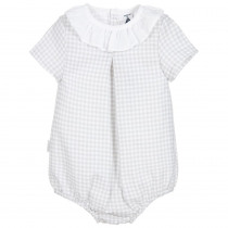 Babidu Lt Grey Gingham Romper with White Frill Collar