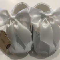 Couche Tot Baby Girl Leather Mary Jane Bow Pram Shoes – White