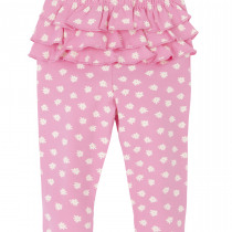 Hatley Baby Girl Pink Frill Leggings with White flower.