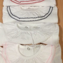 Beautiful Frill Collar Baby Vest / Body – All White Long Sleeve with Navy detail