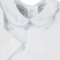 Babidu Peter Pan Collar Vest / Body – White with Blue