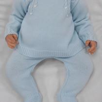 Sardon Blue Knit 2pc Set with Peter Pan Collar