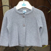 Babys Two Button Cardigan in Grey