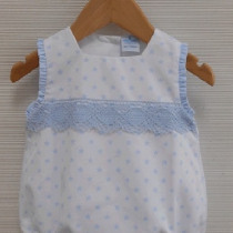 Baby  White with Blue Summer Romper – unisex