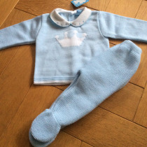 Sardon Blue 2pc  Knit Set with Crown