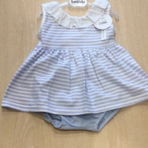 Babidu  Blue Striped Dress and pants set