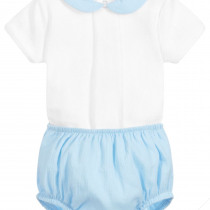 Babidu  2 Piece Blue Shorts Set – Peters Pan Collar