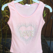 Girls Glitter & Pearls Pink Summer Vest Top