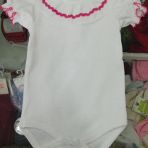 Beautiful Frill Collar Baby Vest / Body – All White Short Sleeve with Deep Pink Trim
