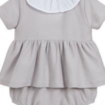 Babidu  Grey Frill Collar Dress and pants set
