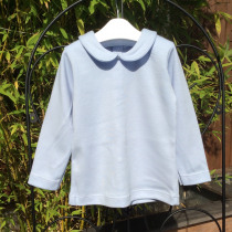 Babidu Blue Long Sleeve Top with Peter Pan Collar