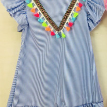 Girls Blue Striped Pom Pom Dress
