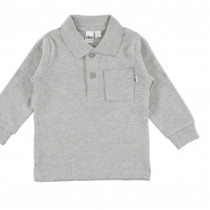 Grey Long Sleeve Tee with Collar from Italian Brand Ido