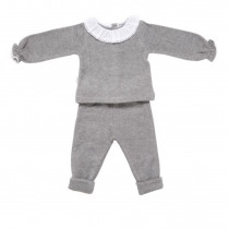 Babidu Baby 2 Piece Grey Set – Frill Collar