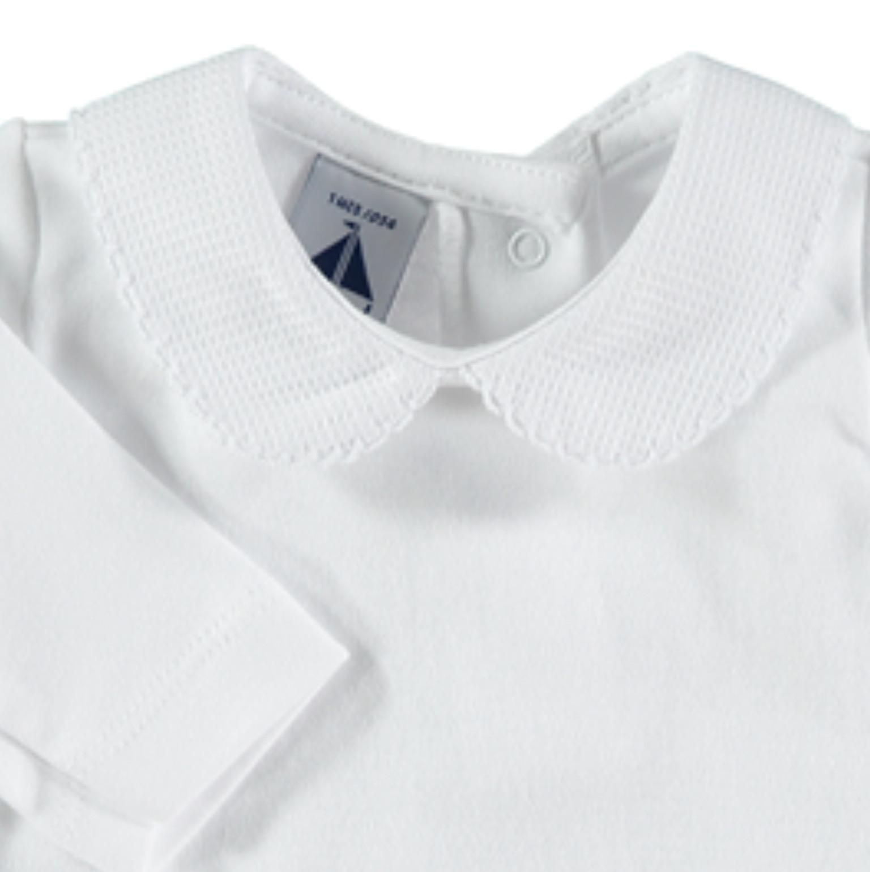 Bodysuit Baby Girl Spanish Frill Collar Long Sleeved Vest white with blue