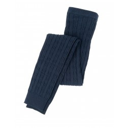 Girls Navy Cable Knit Footless Tights by Hatley