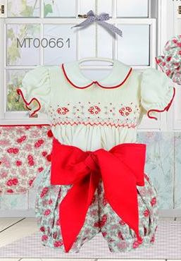 Pretty Originals Girls  Red Print Smocked winter Shorts Set