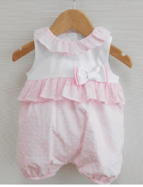 Baby Girls Pink & White Frill Collar Summer Romper by Sardon