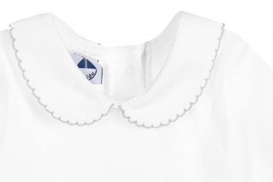 Peter Pan Pique Collar Vest / Body –  White with grey trim – by Babidu