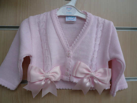 Spanish Style Balero Bow Cardigan for Baby Girl – Pink