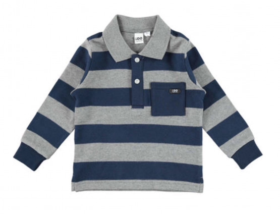 Navy & Grey Striped Long Sleeve Tee with Collar from Italian Brand Ido
