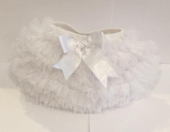 Couche Tot Baby Girl Tulle Ruffle TuTu Pants – White