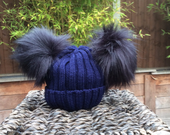 Double Pom Pom Faux Fur Hat – Navy