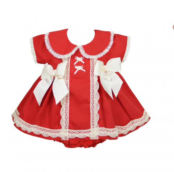 Pretty Originals Red/Cream Large Bow Dress and a Knickers