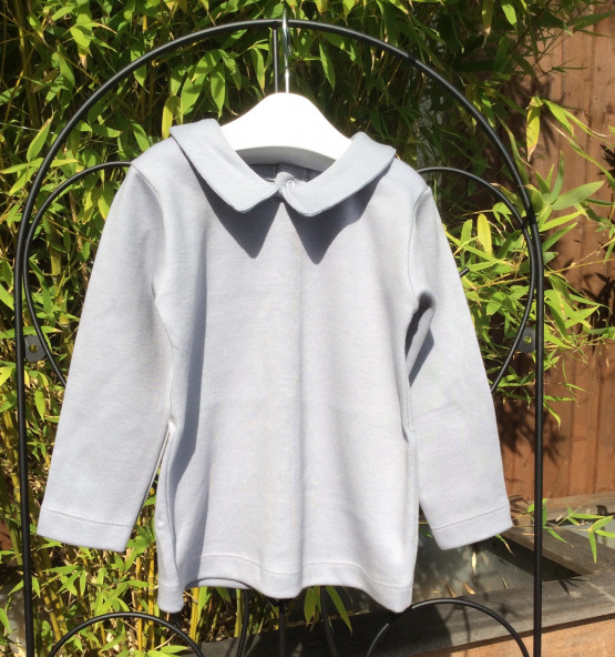 Babidu Grey Long Sleeve Top with Collar