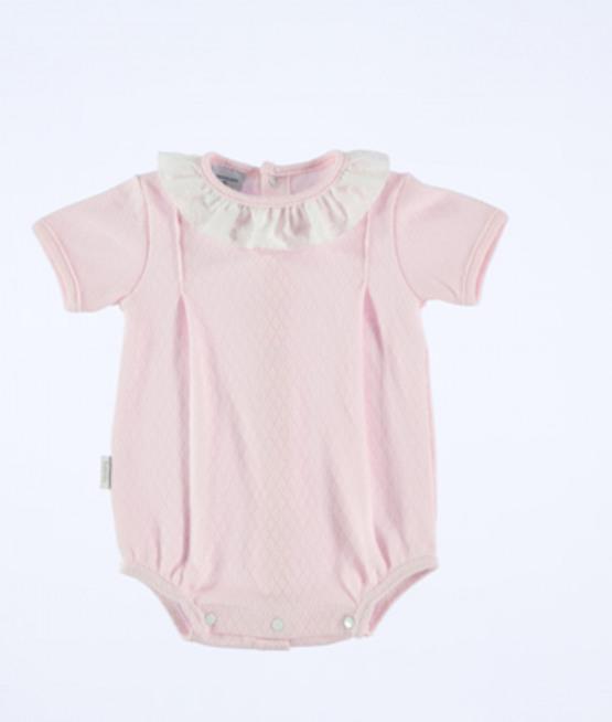 Babidu Baby Girl Pink Frill Collar Short Romper