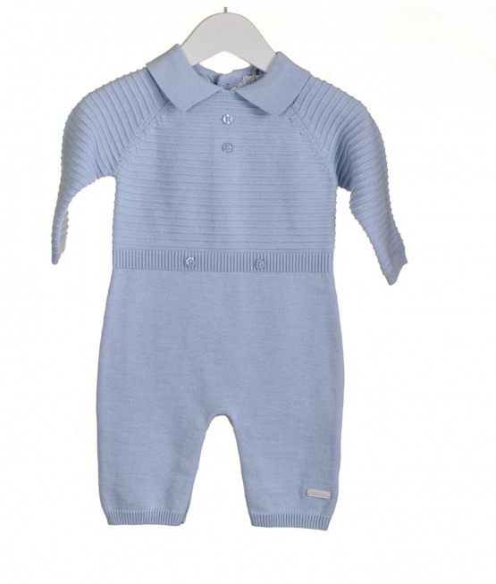 100% Cotton Knitted Blue Romper