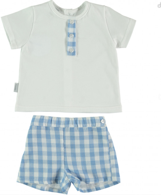 Babidu Baby  Blue Check Shorts Set