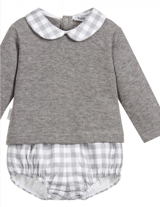 Babidu Baby 2 Piece Grey Check Set – Shorts and Peter Pan Collar Top