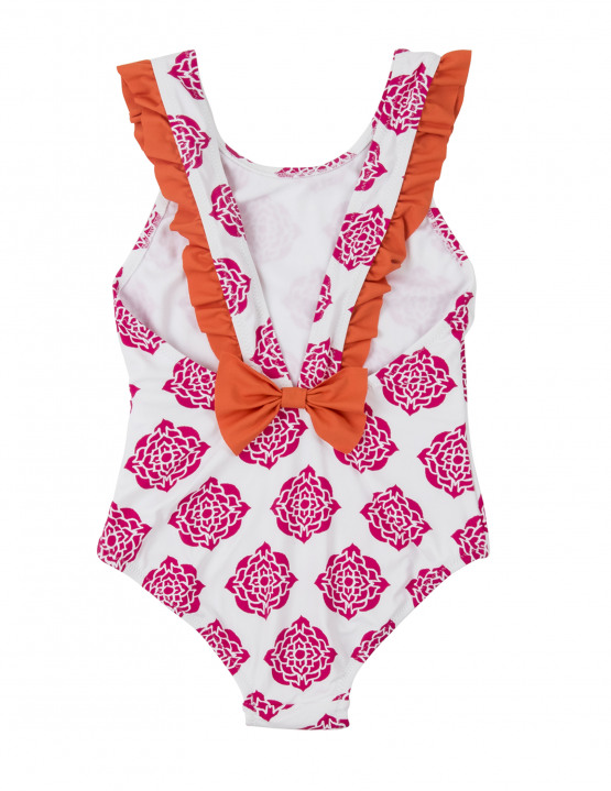 Hatley Pink Flower with Orange Swimsuit