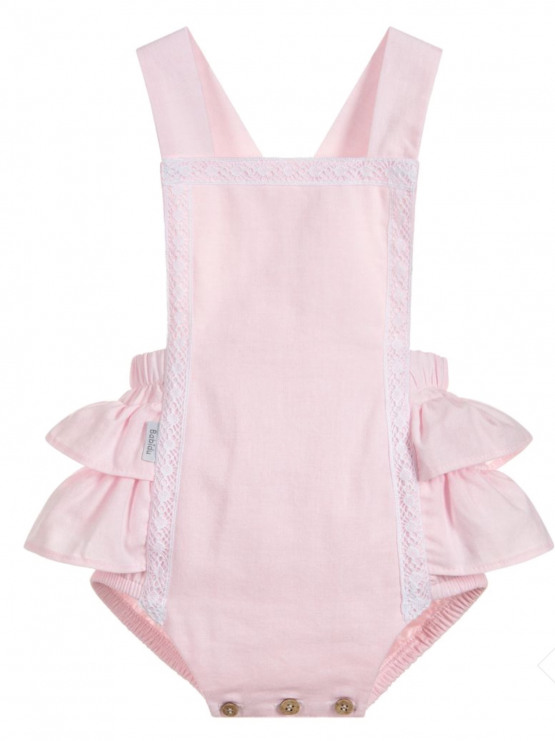 Babidu  Pink & Lace  Shortie Romper/Dungaree  with Ruffle Back
