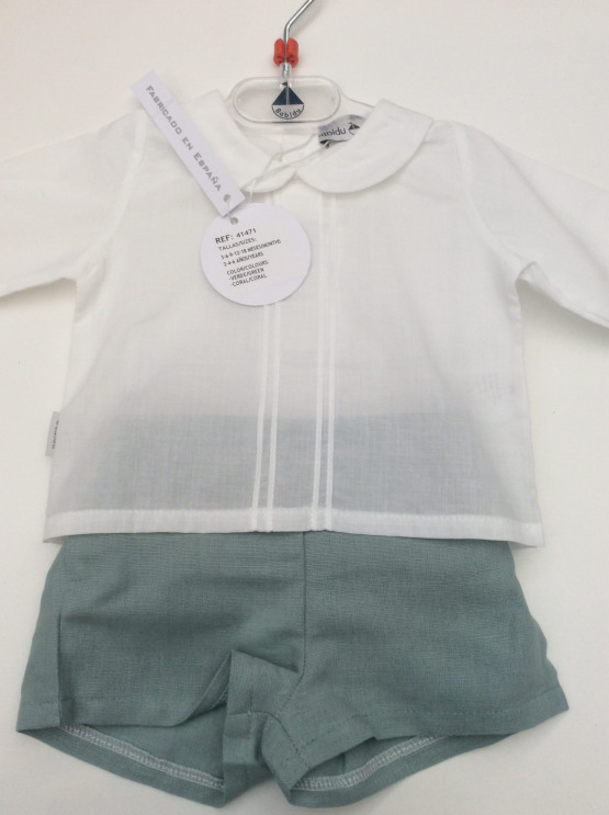 Babidu Green Shorts and White Peter Pan Collar Shirt Set Ref 41471