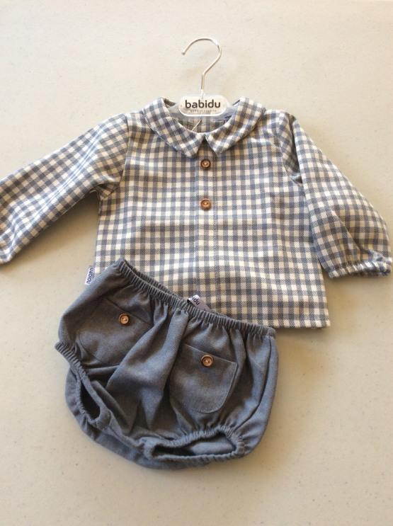Babidu Baby Boys Blueish Grey Cotton Check Shirt and Shorts Set