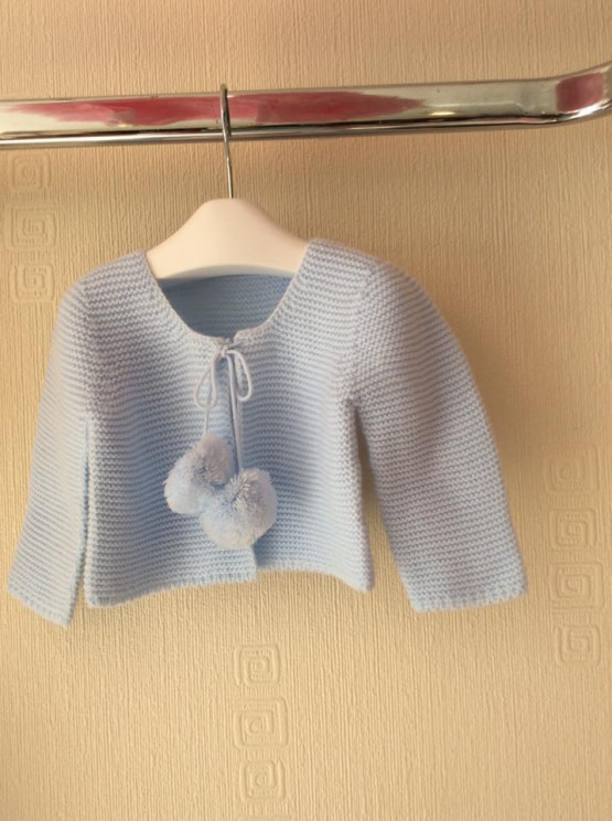 Spanish Knit Pom Pom Cardigan – Baby Blue
