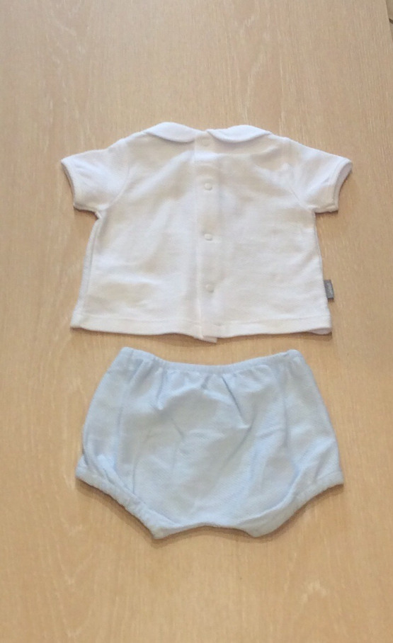 Babidu Smocked Blue Shorts Set with Peter Pan Collar Ref 43320
