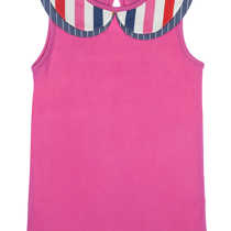 Lilly & Sid Cerise Pink Girls Short Sleeve Top with Multi Layered Collar