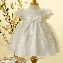 Ivory Organza Overlay Dress with Bow Sash & Headband by Sevva