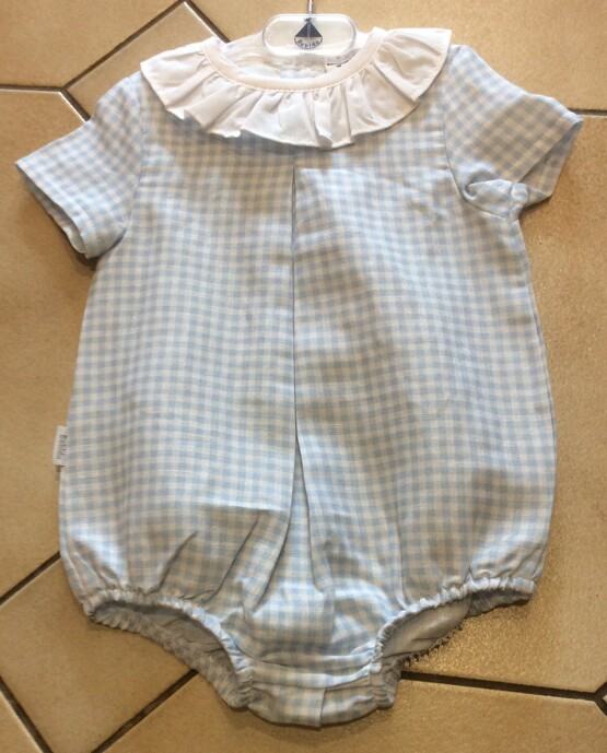 Babidu Blue Gingham Romper with White Frill Collar