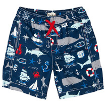 Hatley Baby Boy Vintage Nautical Print Swim Trunks, Navy/Multi