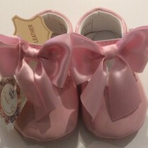 Couche Tot Baby Girl Leather Mary Jane Bow Pram Shoes – Pink