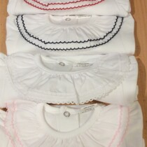 Beautiful Frill Collar Baby Vest / Body – All White Long Sleeve with Red detail